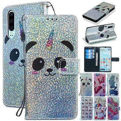 For Huawei P Smart 2019 Case P30 Pro Y6/7 Bling Magnetic Leather Card Slot Cover