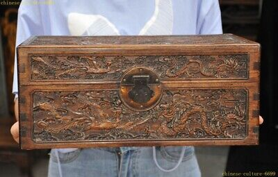 Old Chinese Boxwood wood carved Ancient Dragon phoenix Jewelry storage Box Boxes
