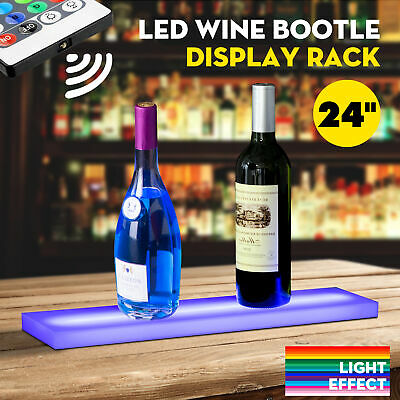 "24"" LED Lighted Back Bar Liquor Display Shelf Wine Bottle Stand Rack W/ 44Key RC"