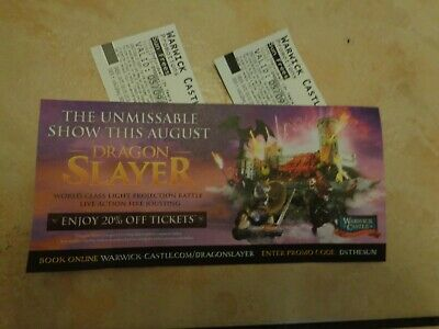 2x TICKETS FOR WARWICK CASTLE THURSDAY 5TH SEPTEMBER (5-9-19)