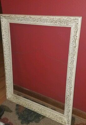 FRENCH PROVINCIAL Antique White Wooden SHABBY CHIC Large ORNATE BAROQUE Frame!
