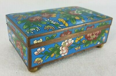 Vintage Antique Chinese Cloisonne' Bronze Fitted Box