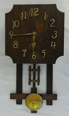 Antique Oak Mission Wall Clock Gilbert & Co. Brass Spring Driven Movement 1915