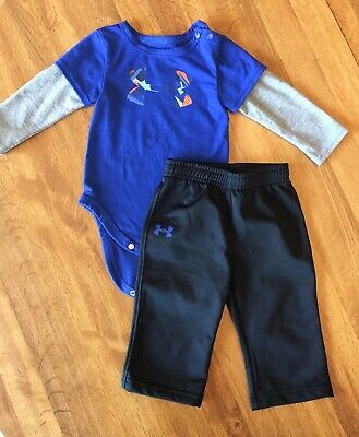 3-6 Month Boy Under Armour Blue Shirt and Pants
