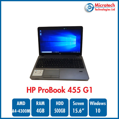 "HP ProBook 455 G1 15.6"" Laptop AMD A4-4300M 4GB RAM 500GB HDD WIN 10 PRO #1"