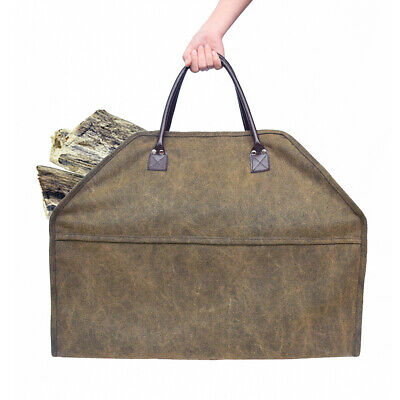 Portable Large Canvas Log Tote Bag Carrier Fireplace Firewood Totes Holder