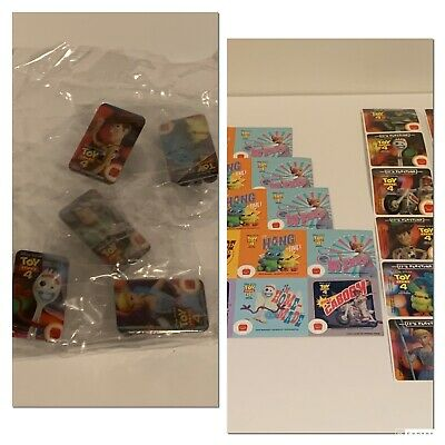 Toy Story 4 McDonald's complete Set Of 5 Employee pins Unopened w Sticker Sets