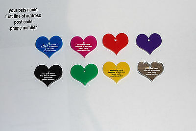 Dog or Cat ID Tags, 25mm Acrylic Heart Shape. Pet ID Tags - Free Engraving