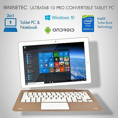 NINETEC Ultratab 10 Pro 2in1 Convertible 10Zoll Tablet Win10 + Android
