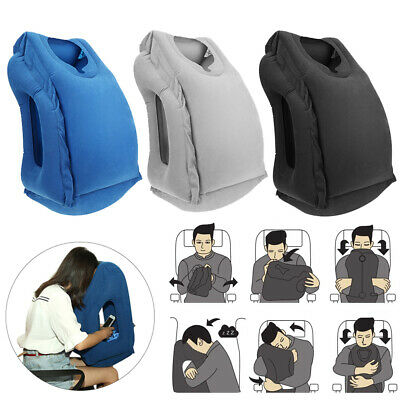 Portable Inflatable Air Travel Pillow Airplane Neck Head Chin Cushion Office Nap