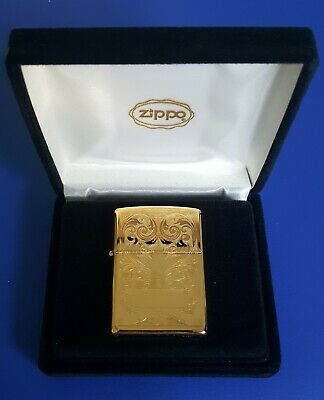 Rare Vintage 1996 Zippo Lighter #320A Gold Plated Floral - Face Hard To Fine Nib