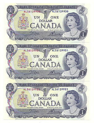 3 x 1973 CANADA ONE DOLLAR BANK NOTES (UNC/CONS)