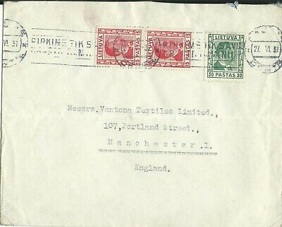 Lithuania - 1937 - Cover to Manchester, England.