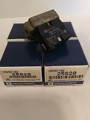 Telemecanique ZB2BZ102 Contact Block w/Mounting Base.  Lot of 5