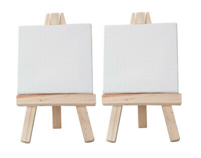 """Ultra-Mini Set of 2 Easels w/ 2 Stretched Canvases 3x3"""" - Natural Easel"""