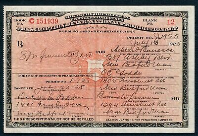 Vintage 1925 Prohibition Prescription Whiskey Pharmacy Doctor Bar History MA Rx