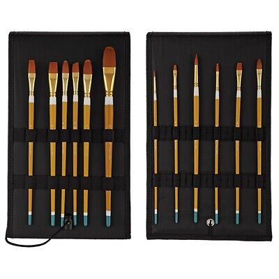 Qualita Bueno Long Handle Brush Set of 12 with Rockwell Case