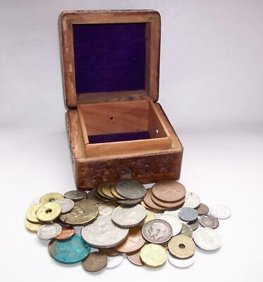 JOB LOT As Found UNSORTED OLD COINS Money Various Countries In Carved Wood Box
