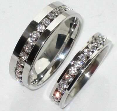 MANS wide  LADIES RGIN  SIMULATED DIAMONDS 3mm 7MM  WEDDING RING BAND STR213