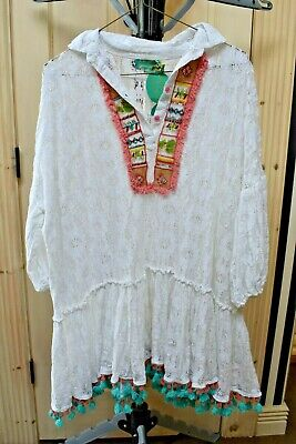 Antica Sartoria White Lace With Blue And Pink Tassels Beading Nwt One Size