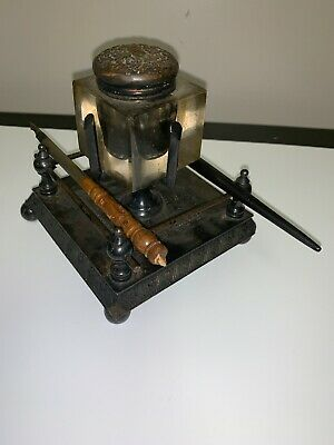 Rare James W Tufts Quadruple Plate 19Th Boston Encrier / Inkwell W/ Pens