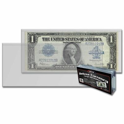 (50) BCW Deluxe Currency Large Bill Holders Semi Rigid