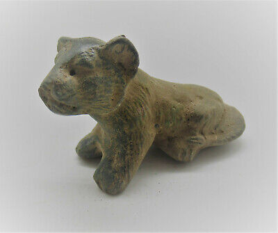 Scarce Circa 100-300Ad Ancient Roman Bronze Seated Lion Figurine