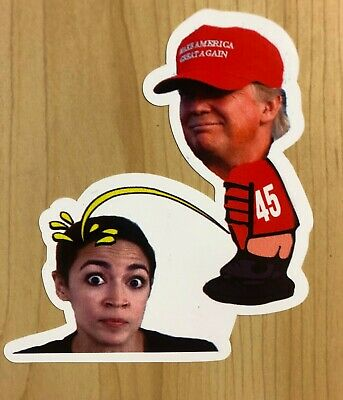 Trump Calvin Pee On AOC Spoof Funny Sticker Decal