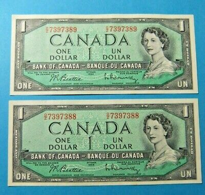 2 Consecutive 1954 Bank of Canada 1 Dollar Notes - AU. FREE SHIPPING