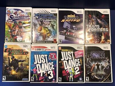 Nintendo Wii Video Game Lot Bundle of 8 Just Dance Star Wars Sports Transformers