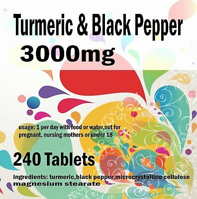 Turmeric and Black Pepper 2500mg  10mg Tablets Curcumin Piperine Extract x 240