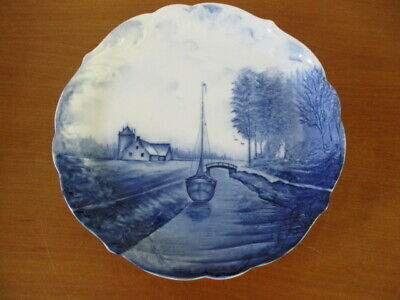 Old Wall Plate um 1900 Rosenthal Delft Germany Sailing Ship in Gracht