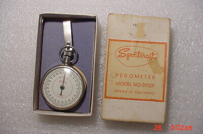 Vintage Sportcraft Pedometer 25 Miles Mileage Counter Original Box Made Germany