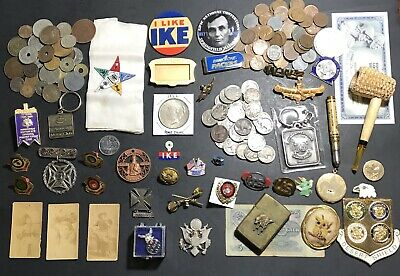 Junk Drawer Lot Silver Dollar Militaria Buffalo Nickels Wheats Pipe Pins Buttons