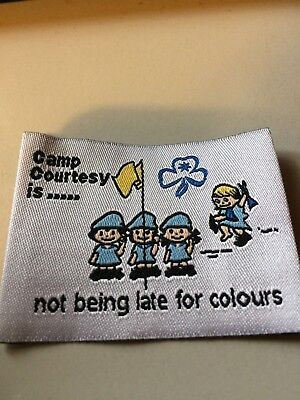 Girl Guides / Scouts Camp courtesy is not being late for colours
