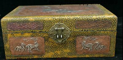 Antique China Bronze Lacquerware Inlay Silver Deer Jewelry Box Jewel Case Statue