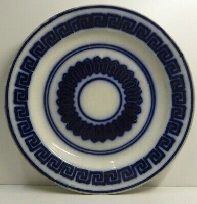 Antique Flow Blue And White Greek Key Pattern Plate