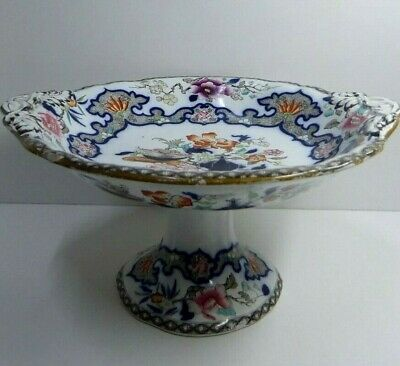 Minton & Hollins Imari Hand Painted  Antique Ironstone Pottery Comport Bowl Dish