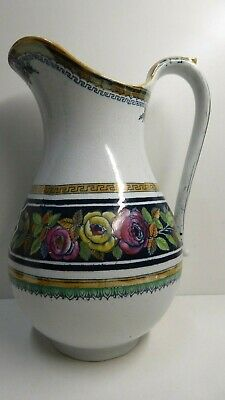 A.b & Co Provence Rose Hand Painted Rose Gilt  Antique Ironstone Pottery Jug