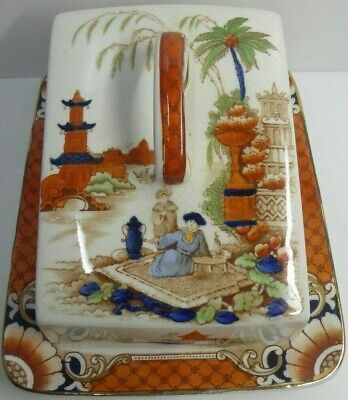 Antique Imari F & Sons Ltd Burma Burslem Cheese Butterdish Chinoiserie Pottery
