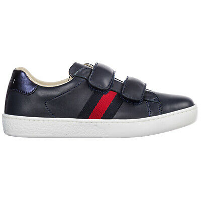 35f35de45 Gucci Boys Shoes Baby Child Sneakers Leather New Ace Blue 1E1