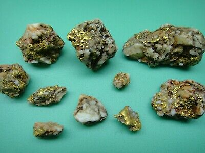 Old group California Gold Quartz natural nuggets in pouch 43.6 grams (28.0 dwt)
