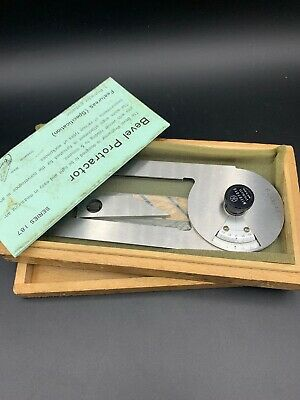 Vintage Mitutoyo 187-201 Bevel Protractor Stainless