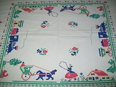 Vintage Tablecloth Leacock Prints Back In Time Items & People