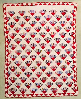 "Vintage Feed Flour Sack Hand & Machine Quilted GRANDMOTHER'S FAN Quilt 68""x92"""