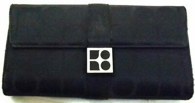 KATE SPADE Wallet TRIFOLD CLUTCH CHECKBOOK BLACK LEATHER FABRIC DISTRESSED VTG