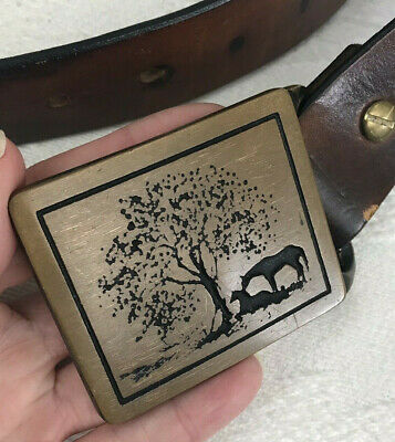 Vtg Tech-Ether Equestrian Two Horses Brass Belt Buckle and Leather Belt 1975