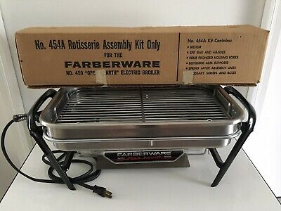 Vtg Faberware Open Hearth Electric Indoor Broiler Rotisserie BBQ Barbecue Grill
