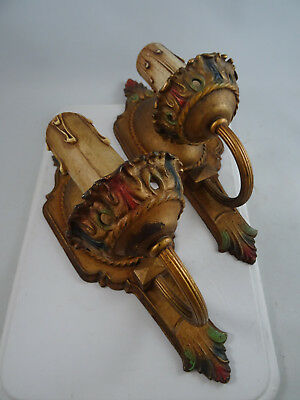 Art Deco Cast Metal Polychrome Painted Electric Wall Sconces Wall Light Fixtures
