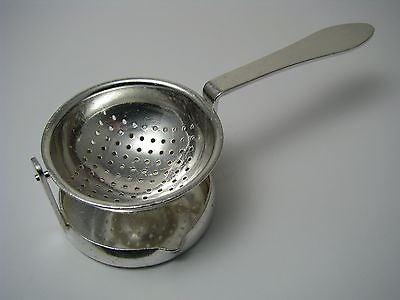 SWISS SILVER PLATED TEA STRAINER ON STAND Beard Orfevrerie Montreux Switzerland